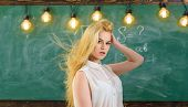 Sexy Teacher Concept. Woman With Long Hair In White Blouse Stands In Classroom. Teacher With Waving  poster
