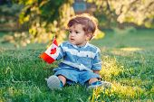 Portrait Of Little White Caucasian Baby Boy Holding Canadian Flag With Red Maple Leaf. Toddler Celeb poster
