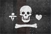 Pirate Flag On A Brick Wall - Illustration,  Stede Bonnet Pirate Flag On Brick Textured Background,  poster