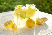 Summer Healthy Non Alcoholic Cocktails, Citrus Infused Water Drinks, Lemonades With Lime Lemon Or Or poster