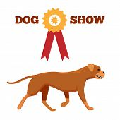 Dog Show Award With Ribbon And Canine Animal Design Advertisement Poster Vector Illustration Isolate poster