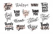 Collection Of Creative Thank You Lettering Compositions Written With Decorative Calligraphic Font. B poster