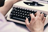 Writer Typing With Retro Writing Machine. Old Typewriter And Authors Hands. Male Hands Type Story Or poster