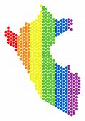 A Dotted Lgbt Peru Map For Lesbians, Gays, Bisexuals, And Transgenders. Colorful Vector Mosaic Of Pe poster