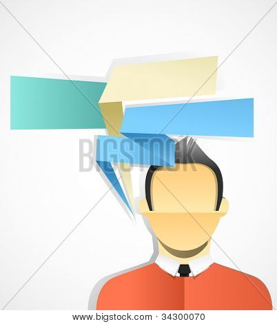 Young businessman with set of speech bubbles. Paper stylization