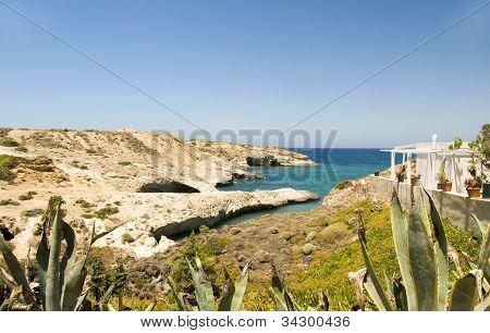 Limestone Beach  White House Architecture Mediterranean Sea Milos Greek Island Cyclades Greece
