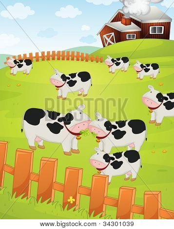 Illustration of cows on a farm