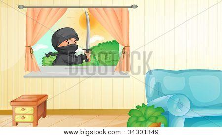 Illustration of a ninja entering a home