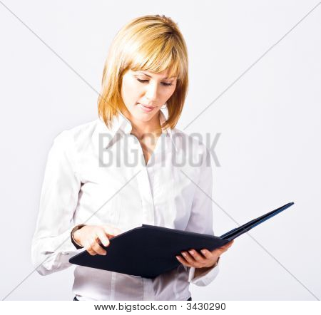 Beautiful Business Lady Reading