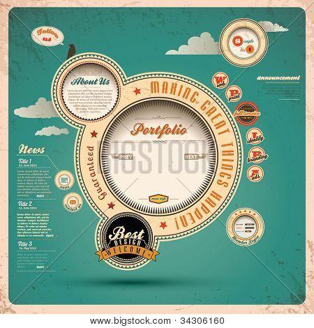 Vintage Web design. Vector Illustration.