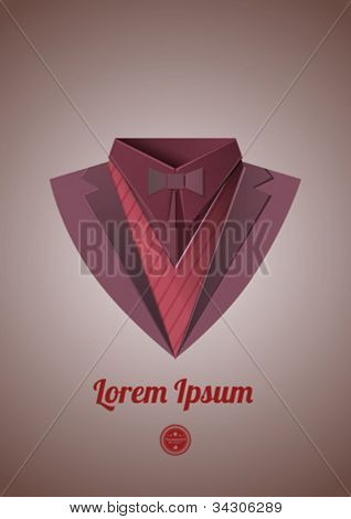 Mafia suit. Origami theme. Dinner jacket Classic expensive clothes. Vector.