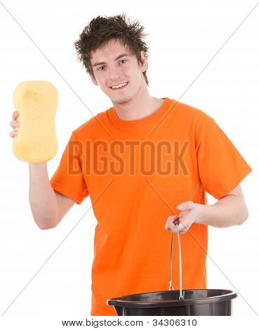 Man With A Bucket And A Sponge