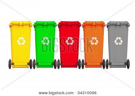Backside Of Large Five Garbage Bins