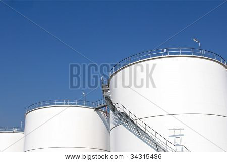 White storage tanks