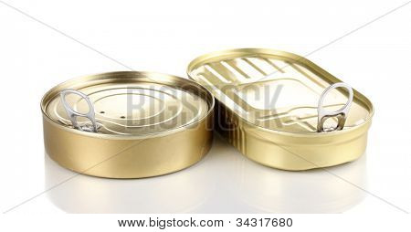 Tin cans with pull ring isolated on white