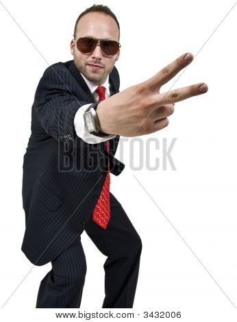 Businessman Indicating Victory