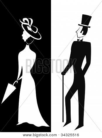 Gentleman and Lady silhouette