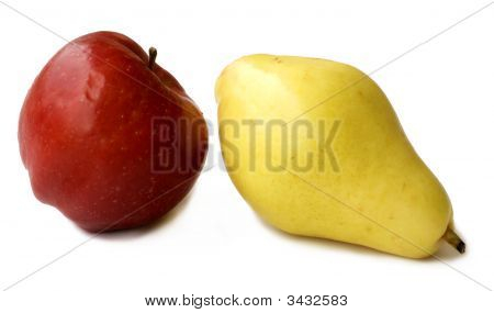 Apple And Pear Together Isolated On White