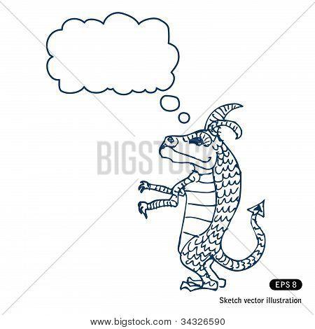 Little dragon with speech bubble