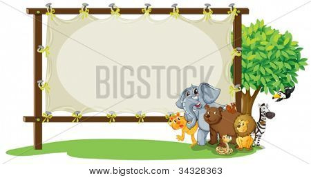 illustration of animals with board on white