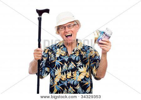 Excited Happy Elderly Man