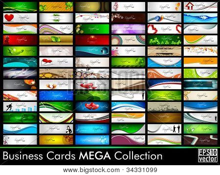 Mega collection of 78 abstract professional and designer business cards or visiting cards on different topic, arrange in horizontal. EPS 10.