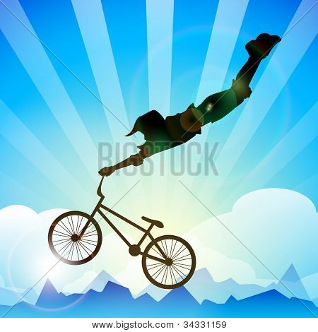 BMX cyclist performing stunt on a beautiful background. EPS 10.
