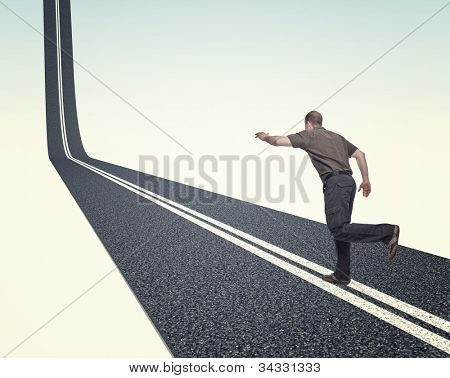 man run on 3d asphalt way