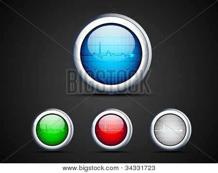 Diagnostics icons in blue, green, red and grey color. EPS 10.