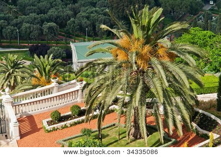 Details Of The Bahai Gardens In Haifa Israel