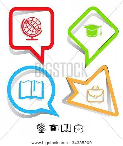 Education icon set. Graduation cap, book, briefcase, globe. Paper stickers. Vector illustration.