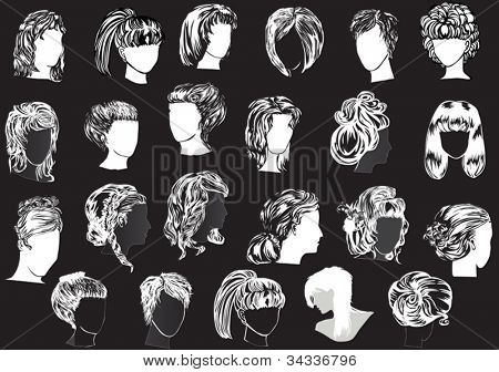 illustration with twenty three woman hairstyles