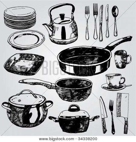 Hand drawn Illustration of Dishware