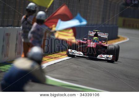VALENCIA, SPAIN - JUNE 24: Felipe Massa in the Formula 1 Grand Prix of Europe, Valencia Street Circuit. Spain on June 24, 2012