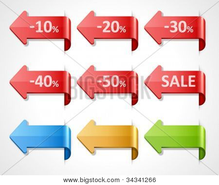 Vector arrow sale stickers set. 10, 20, 30, 40, 50 percent sale. Transparent shadow easy replace background and edit colors.