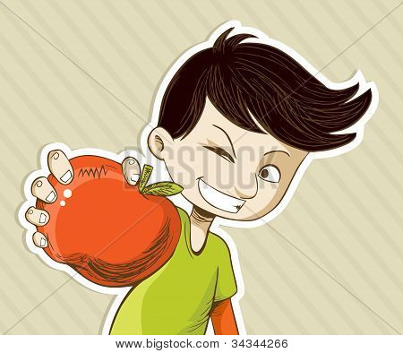 Cartoon Boy With Red Apple