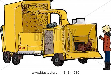 Worker With Wood Chipper