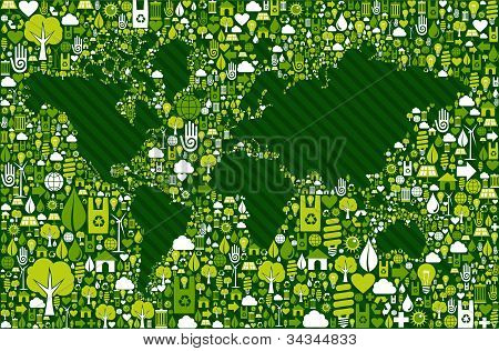 Earth Globe Map With Green Icons Background