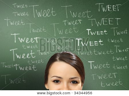 Young person with social media words on the background
