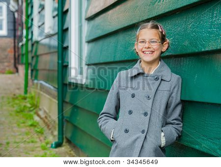 Girl near wall