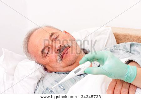 Senior Man With Fever