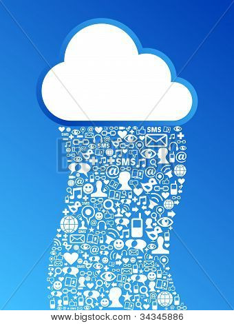 Cloud Computing de fondo de la red de redes sociales