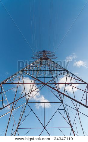 Electrical Transmission Tower (electricity Pylon) From Below.