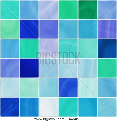 Seamless White And Blue Bathroom Tiles