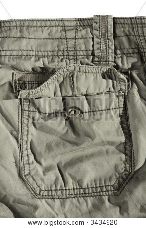 Open Khaki Pants Pocket,Crumpled, Textured, Isolated