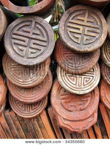 Decorated Traditional Chinese Roof Tiles