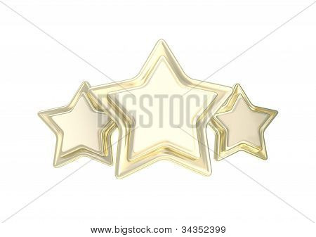 Three star golden quality emblem isolated