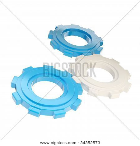 Set of three plastic blue linked cogwheels