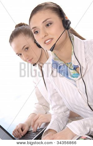 Closeup portrait of successful female customer service representatives