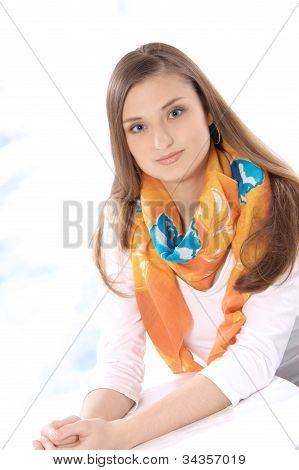 Portrait of happy beautiful young brunette women smiling